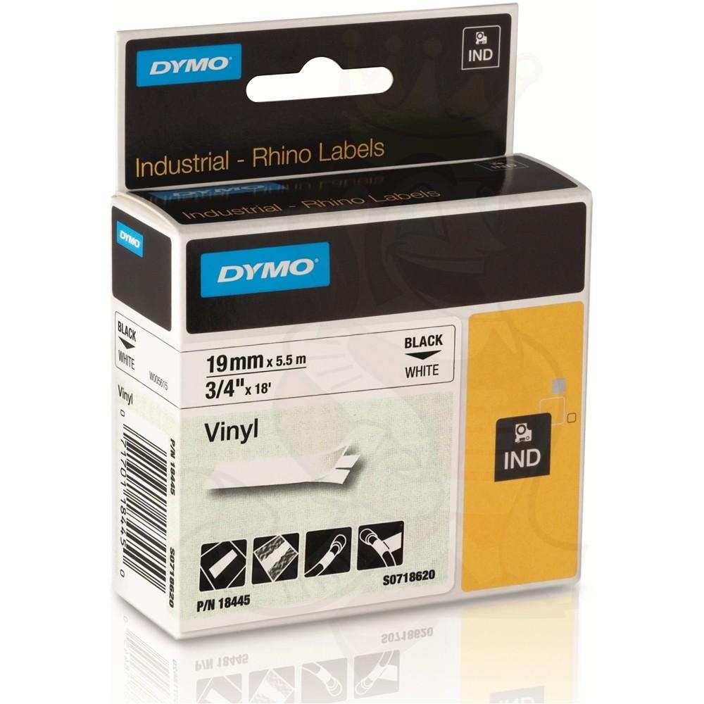 18445 Black on White IND Vinyl Label 19MM for DYMO RHINO 1000 6000 5200