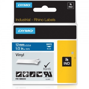 Dymo Rhino Blue Vinyl Tape - 12mm, white Text (p/n: 1805243)