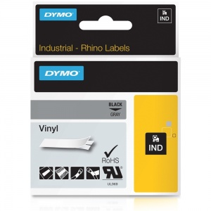 Dymo Rhino Grey Vinyl Tape - 12mm, Black Text (p/n: 1805413)