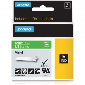 Dymo Rhino Green Vinyl Tape - 12mm, Black Text (p/n: 1805414)