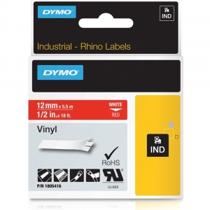 Dymo Rhino Red Vinyl Tape - 12mm, white Text (p/n: 1805416)
