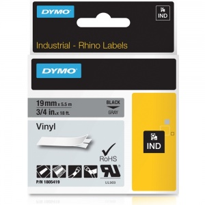Dymo Rhino Grey Vinyl Tape - 19mm, Black Text (p/n: 1805419) - DISCONTINUED