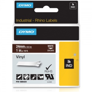 Dymo Rhino Brown Vinyl Tape - 24mm, white Text (p/n: 1805424)