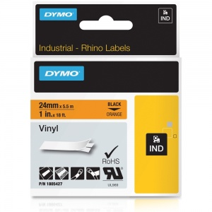 Dymo Rhino Orange Vinyl Tape - 24mm, Black Text (p/n: 1805427)