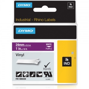 Dymo Rhino Purple Vinyl Tape - 24mm, white Text (p/n: 1805428) - DISCONTINUED