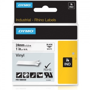 Dymo Rhino White Vinyl Tape - 24mm, Black Text (p/n: 1805430)