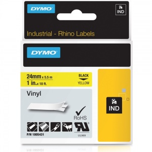 Dymo Rhino Yellow Vinyl Tape - 24mm, Black Text (p/n: 1805431)