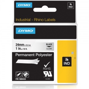 Dymo Rhino Clear Polyester Tape - 24mm, Black Text (p/n: 1805433)