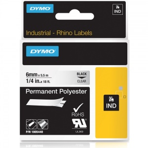 Dymo Rhino Clear Polyester Tape - 6mm, Black Text (p/n: 1805440)