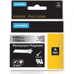 Dymo Rhino Metallized Polyester Tape - 6mm, Black Text (p/n: 1805441)