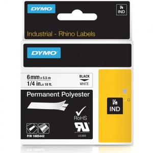 Dymo Rhino White Polyester Tape - 6mm, Black Text (p/n: 1805442)