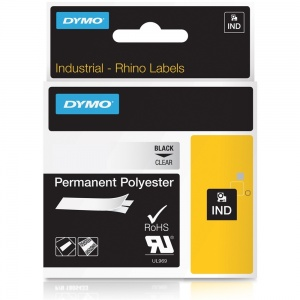 Dymo Rhino Clear Polyester Tape - 12mm, Black Text (p/n: 622289)