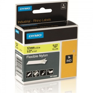 Dymo Rhino Yellow Flexible Nylon Tape - 12mm, Black Text (p/n: 18490 / 18756)