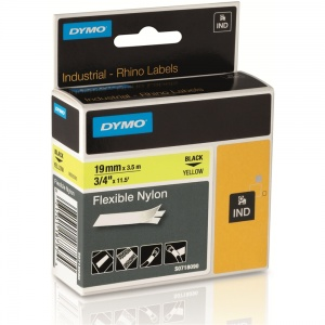 Dymo Rhino Yellow Flexible Nylon Tape - 19mm, Black Text (p/n: 18491 / 18757)