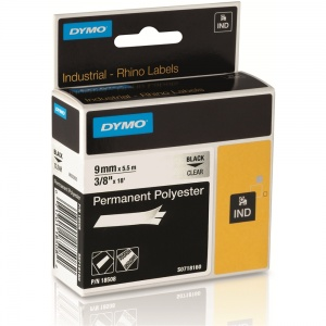 Dymo Rhino Clear Polyester Tape - 9mm, Black Text (p/n: 18508)