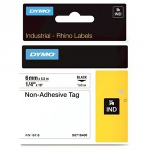 Dymo Rhino Yellow Non-Adhesive Tag - 6mm, Black Text (p/n: 18115) - DISCONTINUED