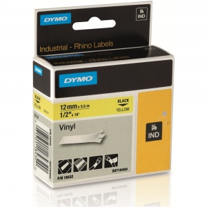 Dymo Rhino Yellow Vinyl Tape - 12mm, Black Text (p/n: 18432)