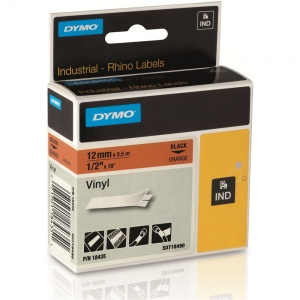 Dymo Rhino Orange Vinyl Tape - 12mm, Black Text (p/n: 18435)