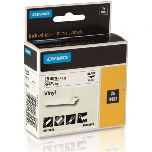 Dymo Rhino White Vinyl Tape - 19mm, Black Text (p/n: 18445)