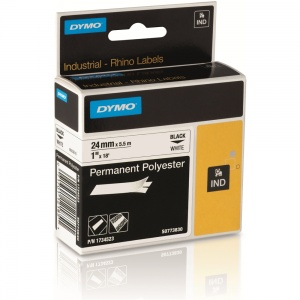 Dymo Rhino White Polyester Tape - 24mm, Black Text (p/n: S0773830)