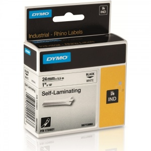 Dymo Rhino White Self Laminating Tape - 24mm, Black Text (p/n: S0773860)