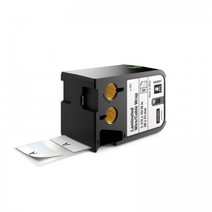 Dymo Rhino XTL White Laminated Cable Wrap Pre-Sized Labels - 38x21mm, Black Text (p/n: 1868707)