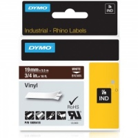 Dymo Rhino Brown Vinyl Tape - 19mm, white Text (p/n: 1805418)
