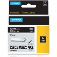Dymo Rhino Black Vinyl Tape - 12mm, white Text (p/n: 1805435)