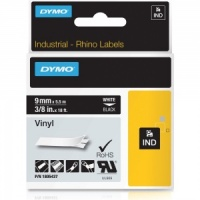Dymo Rhino Black Vinyl Tape - 9mm, white Text (p/n: 1805437)