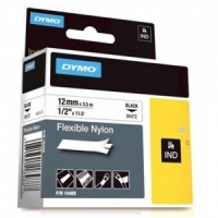 Dymo Rhino White Flexible Nylon Tape - 12mm, Black Text (p/n: 18488 / 18758)
