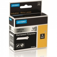 Dymo Rhino Metallized Polyester Tape - 9mm, Black Text (p/n: 18485 / 18760)