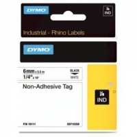 Dymo Rhino White Non-Adhesive Tag - 6mm, Black Text (p/n: 18111) - DISCONTINUED