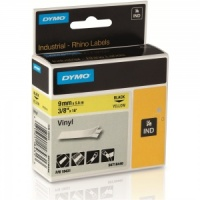 Dymo Rhino Yellow Vinyl Tape - 9mm, Black Text (p/n: 18431) - DISCONTINUED