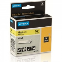 Dymo Rhino Yellow Vinyl Tape - 19mm, Black Text (p/n: 18433)