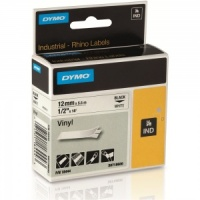 Dymo Rhino White Vinyl Tape - 12mm, Black Text (p/n: 18444)
