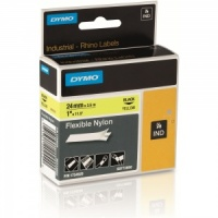 Dymo Rhino Yellow Flexible Nylon Tape - 24mm, Black Text (p/n: S0773850) - DISCONTINUED