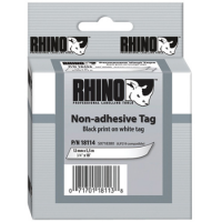 Dymo Rhino White Non-Adhesive Tag - 19mm, Black Text (p/n: 18114) - DISCONTINUED